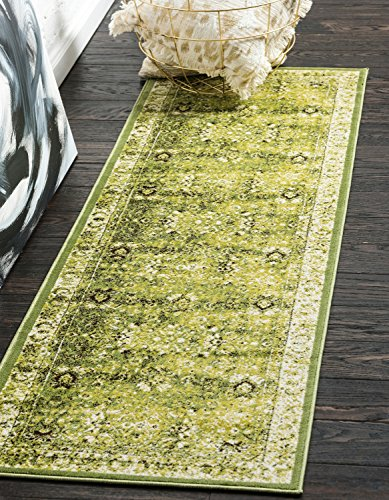 Unique Loom Imperial Collection Modern Traditional Vintage Distressed Green Runner Rug (3' 0 x 9' 10)