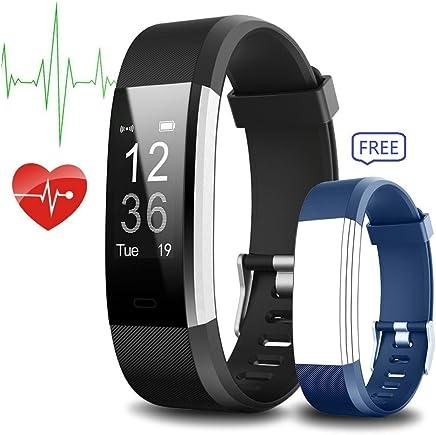 Fitness izleyici, Iyut su geçirmez Sport Smart Band adım sayacı Activity Tracker kalp atış hızı monitörü Bluetooth iOS ve Android telefon ile mavi için yedek band–Siyah
