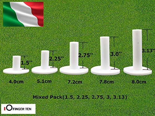 FINGER TEN Golf Rubber Tees 5 Pezzi,Tee da Golf Caff in Gomma Resistente Mappa Tees Gamma 1.5' 2.25' 2.75' 3' 3.13' Bianco Nero upporti per Tee da Golf