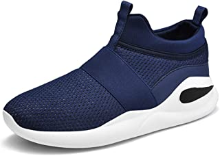 XinQuan Wang Athletic Shoes for Men Sports Shoes Slip On Style Mesh Material Hollow Lightweight Flexible MD Outsole (Color : Blue, Size : 9 UK)