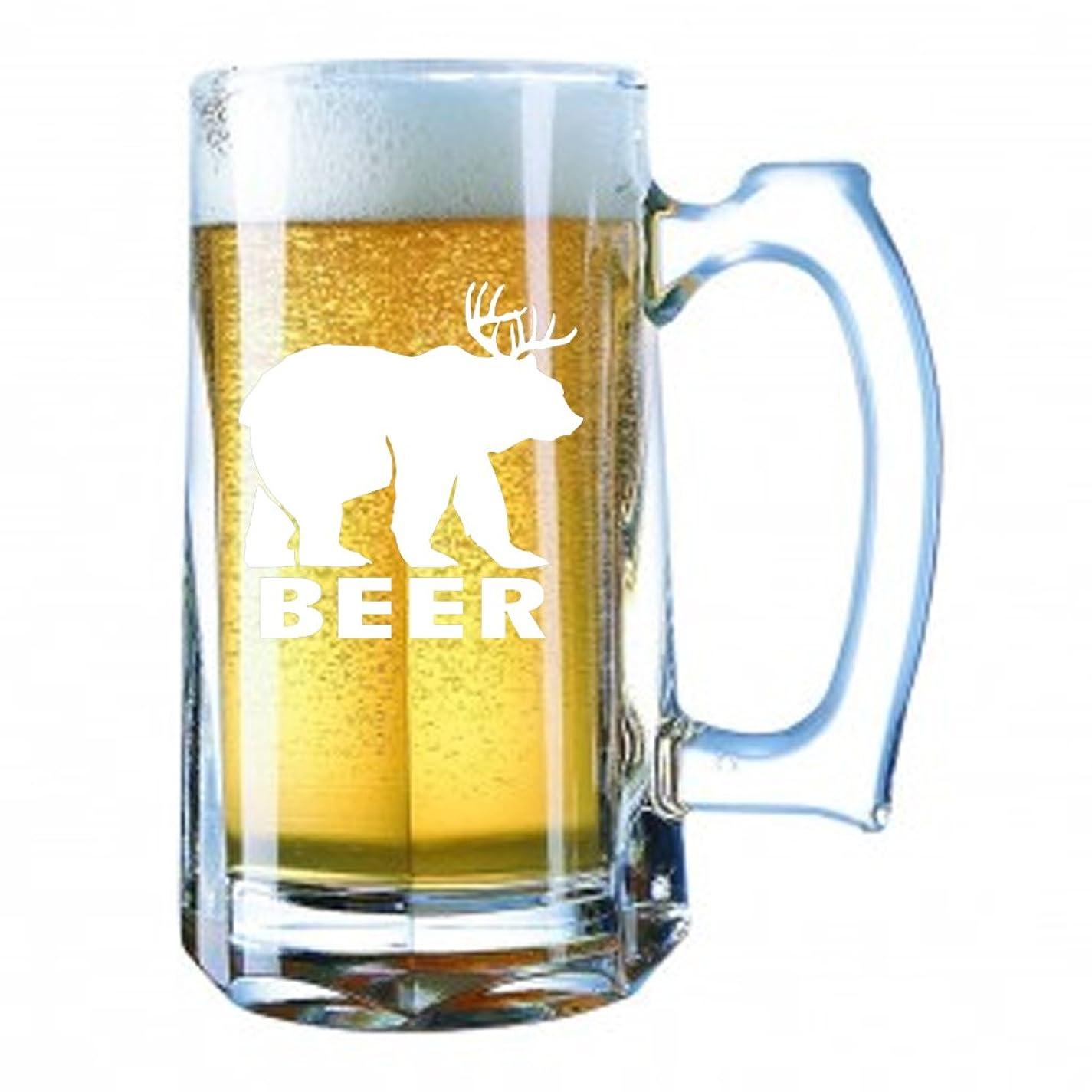 立ち向かう合計上げるGiant Beer Mug 28オンスPersonalized Beer Stein?–?ビール鹿Bear Sunny Mac Funny TV Pong常に