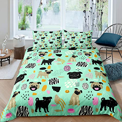 Cute Pug Dog Print Comforter Cover Pet Dog Pattern Bedding Set for Boys Girls Children Hippie Pug Puppy Duvet Cover Stain Resistant Room Decor 3D Animal Kawaii Dog Double Size Quilt Cover 3Pcs