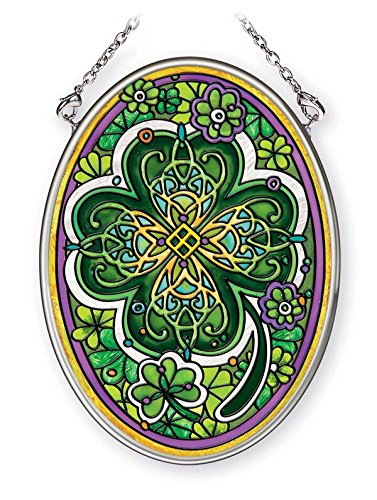 Amia Small Four Leaf Irish Clover, Hand-Painted Glass Oval Suncatcher, 4-1/4 Inches High, 42368, 4-1/4'