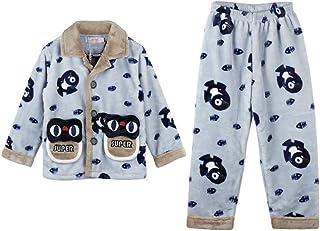 [チューカー] 子供服 キッズパジャマ ルームウェア 部屋着 上下セット 二点セット 厚手 暖かい トップス 前ボタン 長ズボン ウェストゴム 可愛い もこもこ 防寒