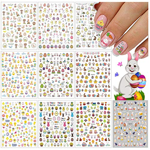 1500+ Patterns Easter Nail Art Sticker Decals, EBANKU Self-Adhesive Easter Bunny Eggs Chick Nail Stickers for Women Girls Kids Easter Nail Design Manicure Tips Nail Art Decor