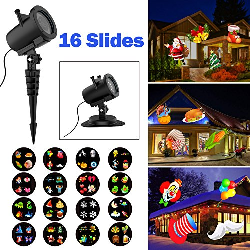 Led Light Projector Halloween Sanwsmo 6W Waterproof IP65, Outdoor/Indoor Switchable Slides Moving Rotating Projector Led Lights for Christmas Weding Holiday Party Home Decoration Lamp (6W)