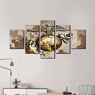 Alasijia Wall Pictures for Living Room US Marine Eagle Art Work for Home Walls Globe and Anchor Brass Emblem Paintings 5 Piece Canvas Art-10cmx15/20/25CM