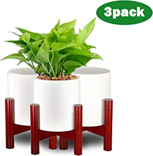 Flower Pots with Stand,Small Succluent Planter Pots with Drinage with Wooden Holder,Indoor Ceramic Pot with Adjustable Modern Brown Holder,Outdoor White Garden Cactus Planters 3 Pack