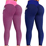NokHom 2 Pack TIK Tok Leggings with Pockets, High Waisted Butt Lifting Leggings Booty Bubble Hip Lift Workout Running Yoga Pants for Women