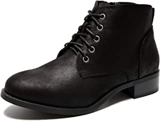 Women's Wide Width Ankle Boots, Low Heel Lace Up Side Zipper Booties Cozy Comfortable Shoes.(180711 Black 13WW)