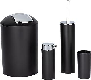 Wenko Set Accessoires Salle de Bain Calvo Noir, Distributeur de Savon Liquide, gobelet Brosse à dent, Brosse WC, Poubelle ...