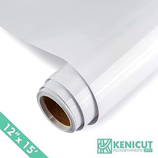 "KENICUT PU Heat Transfer Adhesive Vinyl Roll 12""x15ft for T-Shirt DIY (White) …"