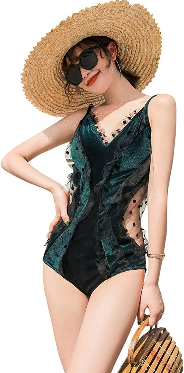 Swimsuit Female Green Velvet New OnePiece Jumpsuit Chest Gathered Sexy Slim Thin Student Bubble Hot Spring Bathing Suit Female Seaside Vacation Swimsuit (color   Green, Size   M)