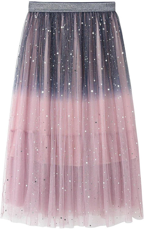 Women's Mesh Skirt Lace Pleated High Waist A-Line Mid-Length Swing Skirt