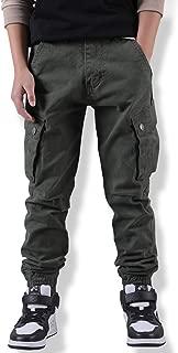 WIYOSHY Boys' Adjustable Waist Cargo Pants Multi Pocket Outdoor Denim Joggers