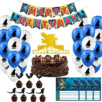 Godzilla Birthday Party Supplies 21 Cupcake Toppers - 20 Balloons - 1 Pack Banner Happy Birthday Cake Decorations