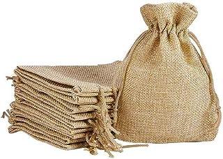 DMS RETAIL Linen Burlap Jute Potli Pouches - Pack of 5 (14 x 10 cm, Natural)