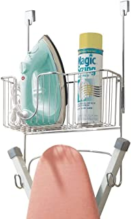 INDIAN DECOR 313940 Ironing Board Holder with Storage Basket for Iron - Over The Door Ironing Board Storage - Hanging Iron...