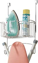 INDIAN DECOR 313940 Ironing Board Holder with Storage Basket for Iron - Over The Door Ironing Board Storage - Hanging Ironing Board Storage with Basket - Chrome
