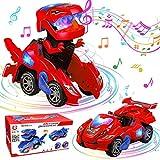 Voiture Dinosaure, GUBOOM Jouet Dinosaure, Transformers Dinosaure, Voiture Dinosaures Enfant Jouet, Dinosaure Transformers avec Musique pour 3 à 7 Ans Garçon Fille Jouet éducatif Cadeau (Rouge)