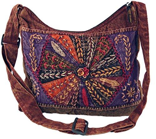 GURU SHOP Schultertasche, Patchwork Hippie Tasche, Goa Tasche - Rot, Herren/Damen, Baumwolle, Size:One Size, 30x30x6 cm, Alternative Umhängetasche, Handtasche aus Stoff