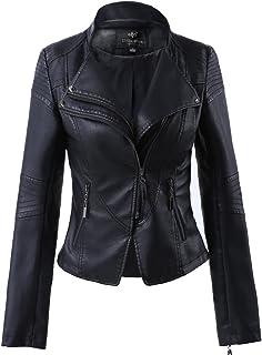 LingLuoFang LLF Women's Faux Leather Stand-up Collar Moto Biker Short Jacket,Cropped Jacket