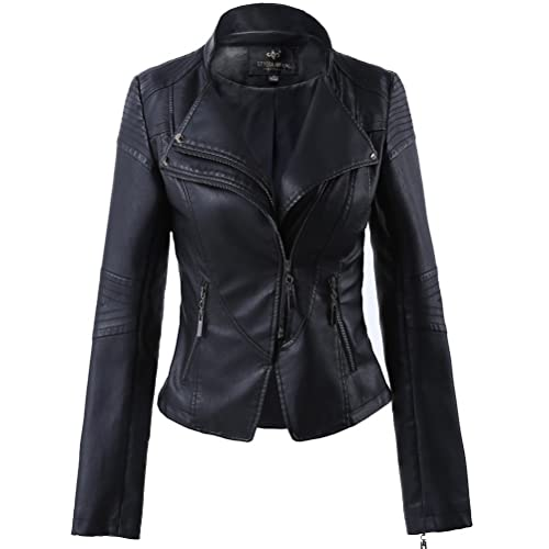 7762bae907a LingLuoFang LLF Women's Faux Leather Stand-up Collar Moto Biker Short Jacket,Cropped  Jacket