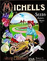 1904年ミシェルの種子錫サインヴィンテージノベルティ面白い鉄の絵の具金属板