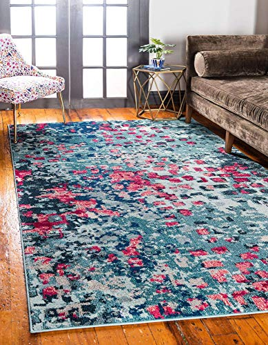 Unique Loom Jardin Collection Vibrant Abstract Area Rug, 5 x 8 Feet, Blue/Pink