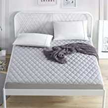 Liveinu Waterproof Quilted Fitted Mattress Pad Fleece Mattress Cover Protector Mattress Topper Stretches up to 12 Inches D...
