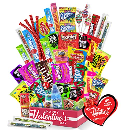 Valentines day candy - (50 count) A Sampler of Skittles, Sour Patch Kids, Starburst, M&M's, Twizzlers, Airheads, and More! Great for Movie Night, Sleepovers, and Goodie Bags!