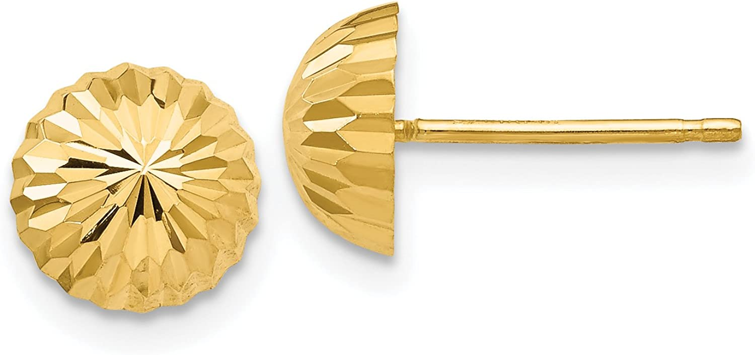 Polished Diamond-Cut Half Ball Dome Post Earrings in Real 14k Gold