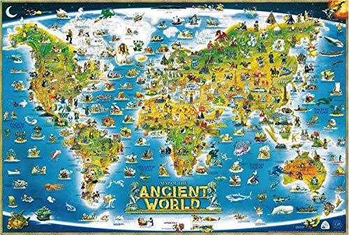 Rompecabezas de madera grandes Piezas de descompresión para adultos Juguetes para niños Paisaje Elk Peacock Tower-1,000 Ancient World Maps 1000 tabletas sin marco