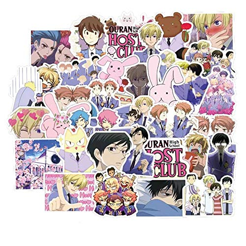 Anime Ouran High School Host Club Pegatina Japón Clásico Anime Impermeable Calcomanías Patineta Portátil Maleta 50pcs