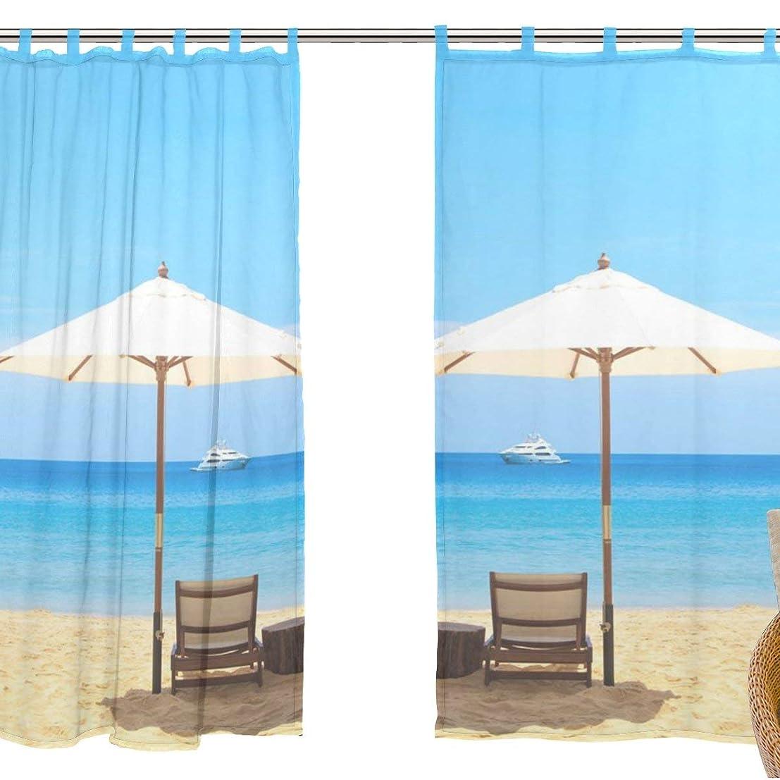 虎マリンサッカーZOMOY(ユサキ おしゃれ 薄手 柔らかい シェードカーテン紗 ドアカーテン,装飾 窓 部屋 玄関 ベッドルーム 客間用 遮光 カーテン (幅:140cm x丈:210cmx2枚組) 自然の風景 海 砂浜 波 M49
