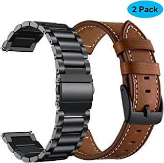 Yeejok Replacement Vivoactive 3 Watch Bands, 20mm Quick Release Brown Genuine Leather Watch Strap and Black Metal Watch Band Compatible for Garmin Vivoactive 3 Music/Forerunner 645/245 Smartwatch