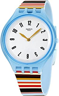 Swatch Skin Skinstripes Grey Dial Silicone Strap Unisex Watch SVUL100