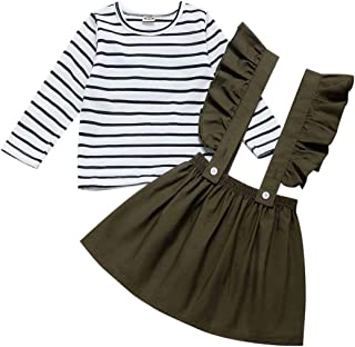 FUTERLY Skirts Set Toddler Ruffle Strap Skirt + Long Sleeve T-Shirt Tops Perfect for 1-6T Girls
