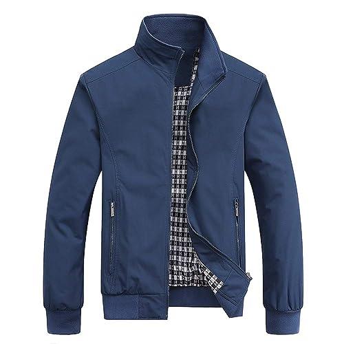 2de824f2b871 MyMei Men s Casual Jacket Stand Collar Zipper Design Regular Coat Spring  Autumn Windbreaker Outerwear