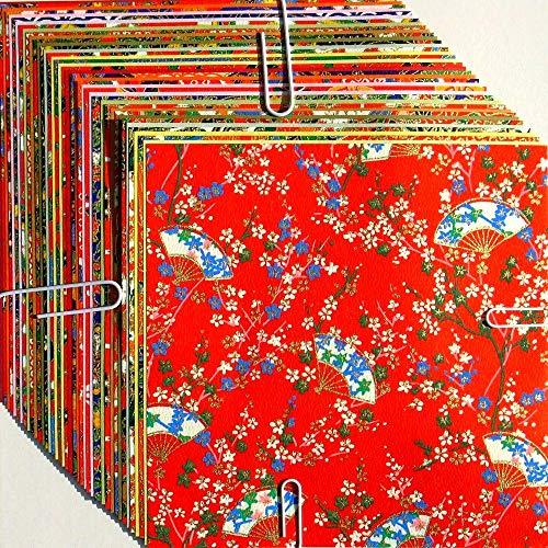 Origami Washi-Papier, traditionelles japanisches Design (Yuzen Washi) und Washi-Papier (Washi), verschiedene Motive und Farben, insgesamt 40 Blatt – 15 cm x 15 cm