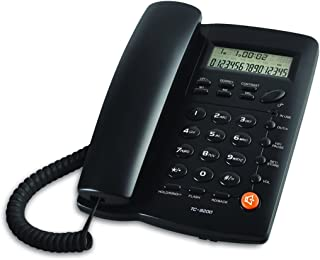 JW TC9200 Corded Telephone with Speaker, Display, Basic Calculater and Caller ID, Black