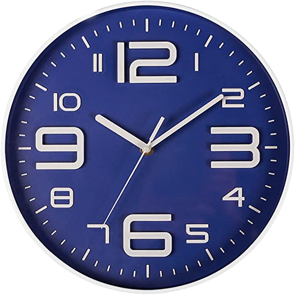 Aioloc Modern Wall Clock 10 Inch Non Ticking Round Home Decor Clocks 3D Digital Dial Face Battery Operated Arabic Numerals Indoor Silent Movement Blue