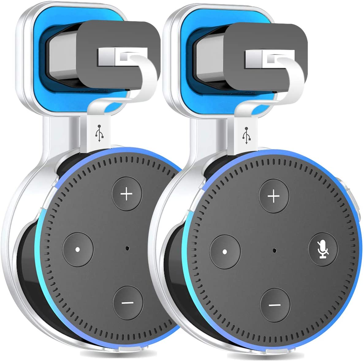 2 X Outlet Wall Mount Holder Stand Hanger for Echo Dot 2nd Generation,A Space-Saving Solution with Cord for Your Smart Home Speakers, Without Messy Wires,Place on Kitchen, Bedroom & Bathroom(White)
