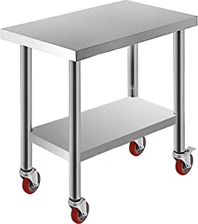 Mophorn 30x18x34 Inch Stainless Steel Work Table 3-Stage Adjustable Shelf with 4 Wheels Heavy Duty Commerci...