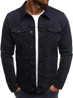 4a1cd753b57c iLXHD Men's Autumn Winter Button Solid Color Vintage Denim Jacket Tops  Blouse Coat Outwear