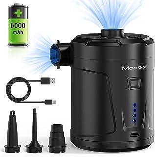Manwe Pompe à air électrique, 6000 mAh, pompe à air portable rechargeable, pour coussin d'air, tapis de camping, bateau go...