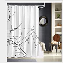 Puloa New York City White Subway map Shower Curtains with 12 Hooks Bathroom Curtain 72