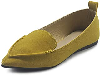 Ollio Womens Shoe Light Comfort Pointed Toe Moccasin Faux Suede Ballet Flats F77