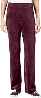 Karen Scott Womens Petites Velour Comfort Waist Lounge Pants Red PS