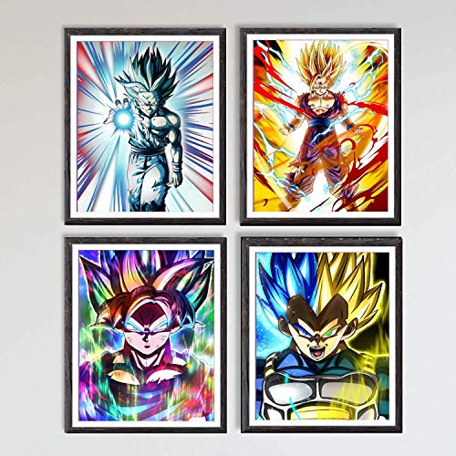MS Fun - Ilustraciones de Dragon Ball con los personajes de Goku y Vegeta, impresas en lienzo, 20,3x25,4cm, sin marco, juego de 4